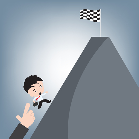 winner finish race flag on hill and business man hand running up, achievement success concept, illustration vector in flat design Ilustrace