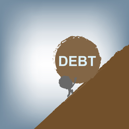 uphill: silhouette of Businessman pushing a huge stone with debt burden uphill, financial concept vector illustration in flat design