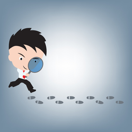 Businessman searching or looking at footprint, illustration vector in flat design