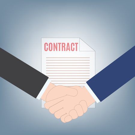 business handshake and contract background, contract agreement business concept, illustration vector in flat design