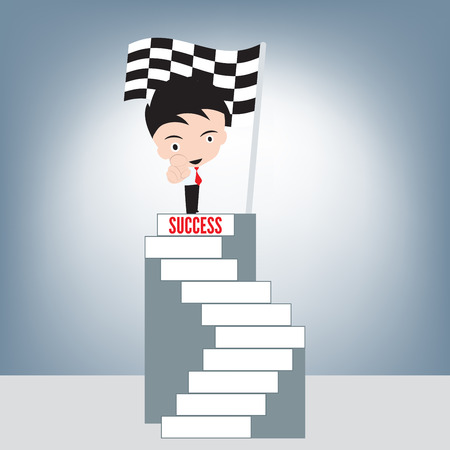 Businessman and index finger point at you on top stair of success and winner finish flag background, achievement success concept, illustration vector in flat design Ilustrace