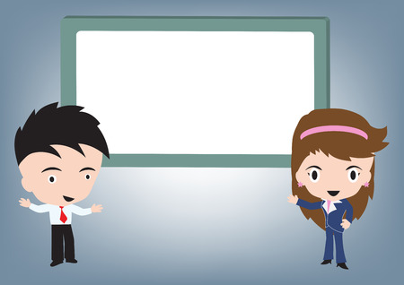 Businessman and woman standing and speaking and whiteboard behind, vector illustration in flat design Ilustrace