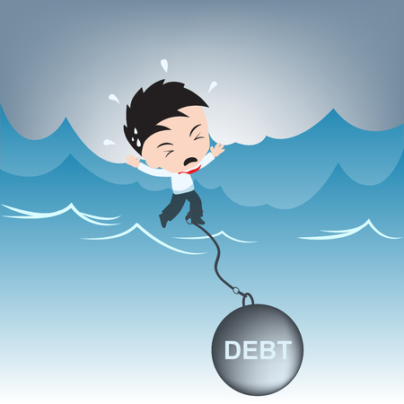 businessman need help with debt burden on water, financial concept illustration vector in flat design