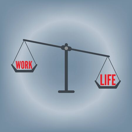 work life balance wording on weight scale concept, vector illustration in flat design background