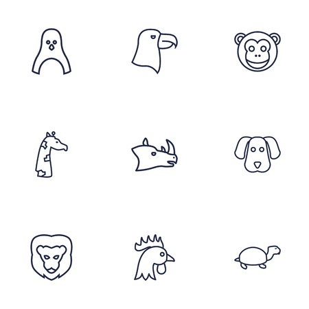 antarctic: Set Of 9 Beast Outline Icons Set.Collection Of Giraffe, Penguin, Cock And Other Elements.