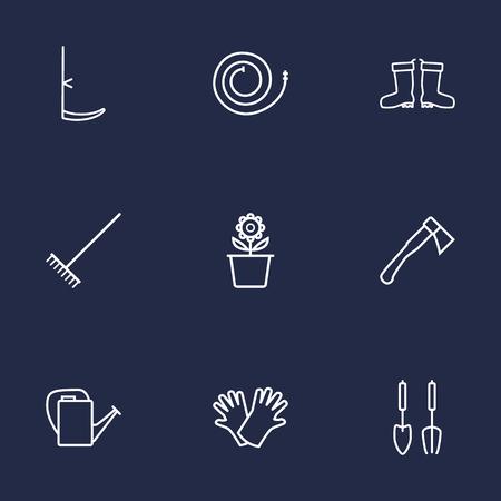 safer: Set Of 9 Household Outline Icons Set.Collection Of Safer Of Hand , Instruments, Plant Pot Elements.