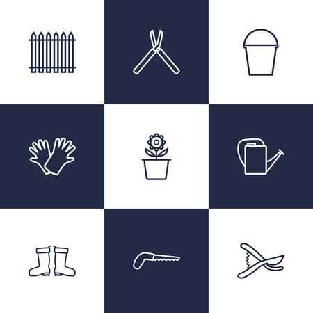 safer: Set Of 9 Household Outline Icons Set.Collection Of Safer Of Hand , Palisade, Bailer Elements.