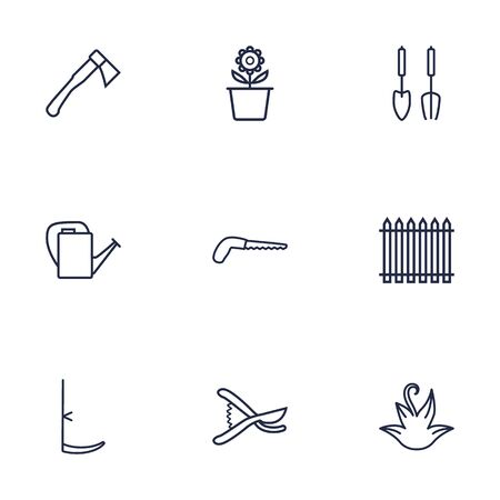 secateurs: Set Of 9 Household Outline Icons Set.Collection Of Arm-Cutter, Secateurs, Palisade And Other Elements. Illustration