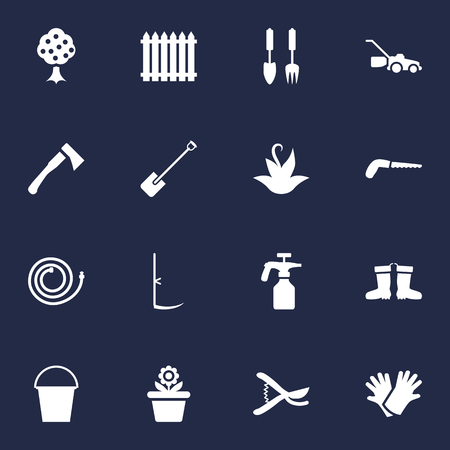 pruning: Set Of 16 Household Icons Set.Collection Of Hacksaw, Pruner, Cutter And Other Elements.