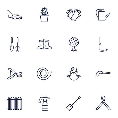 dangerous work: Set Of 16 Farm Outline Icons Set.Collection Of Grass-Cutter, Secateurs, Arm-Cutter And Other Elements.