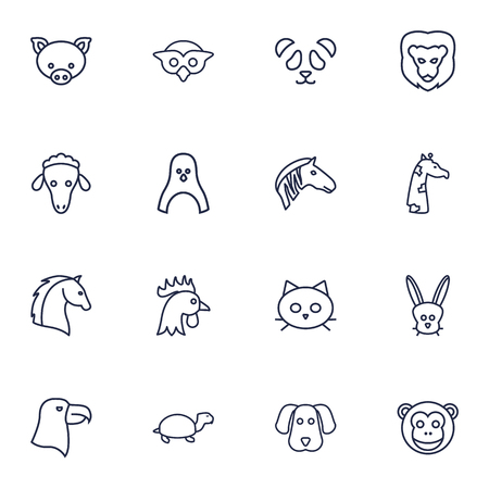 Set Of 16 Beast Outline Icons Set.Collection Of Owl, Monkey, Dog And Other Elements.