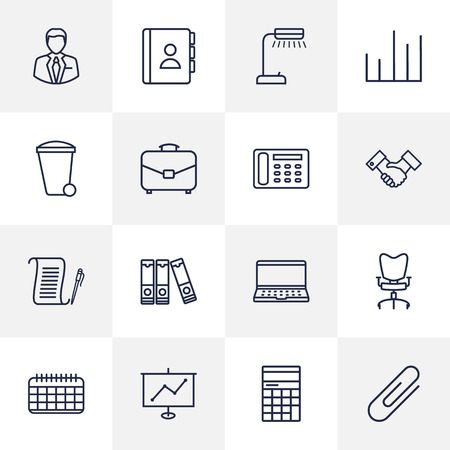 stool: Set Of 16 Bureau Outline Icons Set.Collection Of Fastener Paper, Contacts, Telephone Directory And Other Elements. Illustration