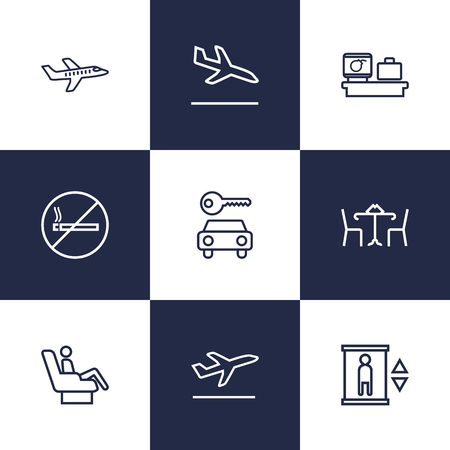 elevate: Set Of 9 Land Outline Icons Set.Collection Of Business Class, No Smoking, Cafe And Other Elements. Illustration