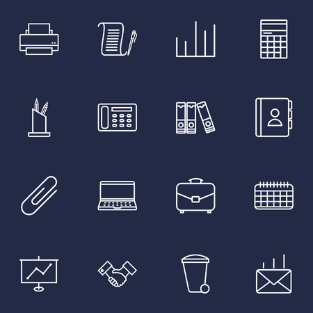 writing on screen: Set Of 16 graphic Service Outline Icons Set.Collection Of Post, Counter, Show And Other Elements.