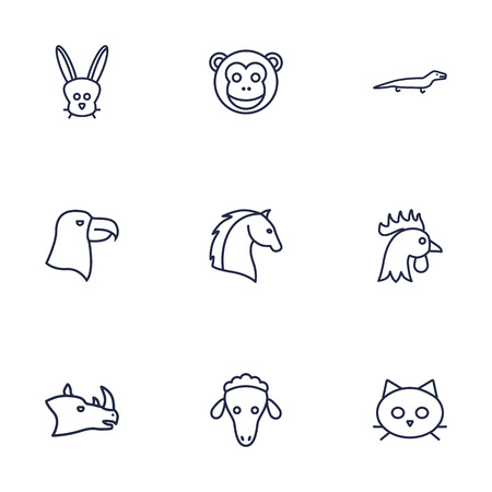 brute: Set Of 9 Creative  Brute Outline Icons Set.Collection Of Eagle, Rabbit, Cock And Other Elements.