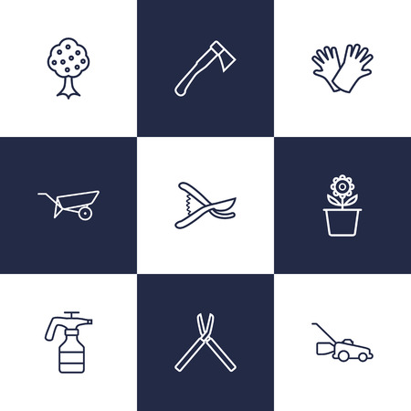 safer: Set Of 9 Creative Farm Outline Icons Set.Collection Of Grass-Cutter, Safer Of Hand , Garden Elements.