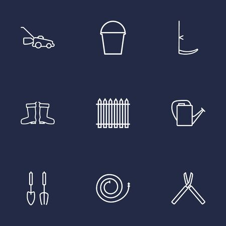 weeds: Set Of 9 Artistic Farm Outline Icons Set.Collection Of Shears, Scythe, Pail And Other Elements.
