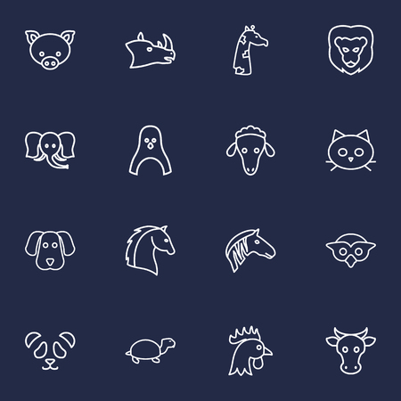 long night: Set Of 16 Brute Outline Icons Set.Collection Of Cat, Dog, Lion And Other Elements. Illustration