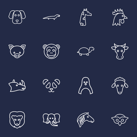 baboon: Artistic Set Of 16 Beast Outline Icons Set.Collection Of Lion, Monkey, Sheep And Other Elements.