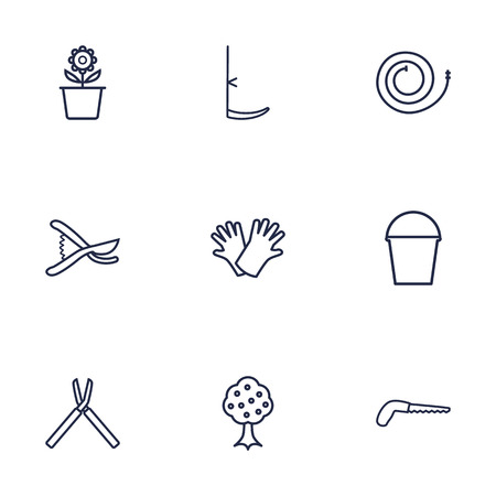 safer: Set Of 9 Horticulture Outline Icons Set.Collection Of Garden, Arm-Cutter, Safer Of Hand Elements.