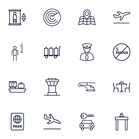 interdiction: Set Of 16 Airplane Outline Icons Set.Collection Of No Smoking, Airport Security, Car Rent And Other Elements.