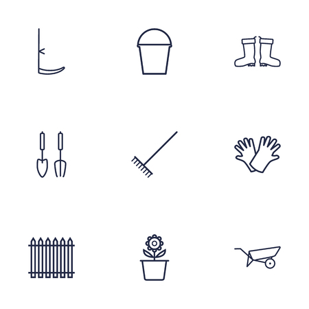 horticultural: Set Of 9 Farm Outline Icons Set.Collection Of Safer Of Hand , Barrow, Instruments Elements. Illustration
