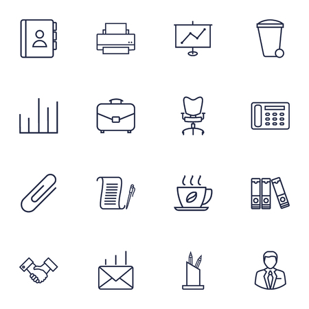 stapled: Set Of 16 Work Outline Icons Set.Collection Of Printing Machine, Show, Workplace And Other Elements.