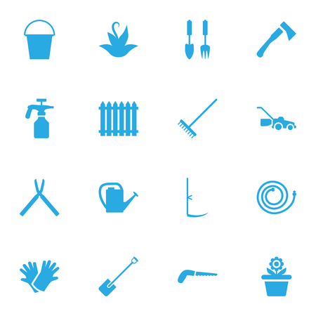 pulverizer: Set Of 16 Farm Icons Set.Collection Of Fence, Plant, Watering Can And Other Elements.