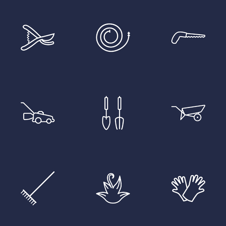comb: Set Of 9 Horticulture Outline Icons Set.Collection Of Harrow, Grass-Cutter, Barrow And Other Elements. Illustration