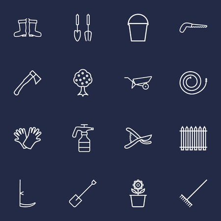 grass blades: Set Of 16 Farm Outline Icons Set.Collection Of Instruments, Waterproof Shoes, Hatchet And Other Elements. Illustration