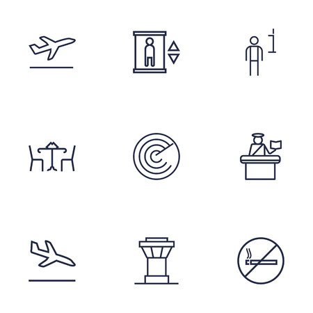 down town: Set Of 9 Airplane Outline Icons Set.Collection Of Sit, Data, Passport Controller And Other Elements.
