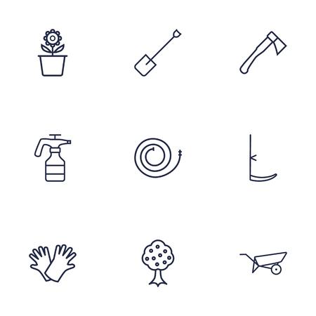 safer: Set Of 9 Household Outline Icons Set.Collection Of Hatchet, Spade, Safer Of Hand Elements. Illustration