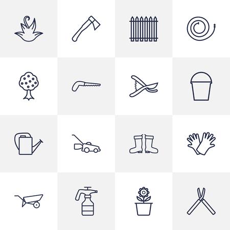 safer: Set Of 16 Horticulture Outline Icons Set.Collection Of Waterproof Shoes, Garden, Safer Of Hand Elements. Illustration