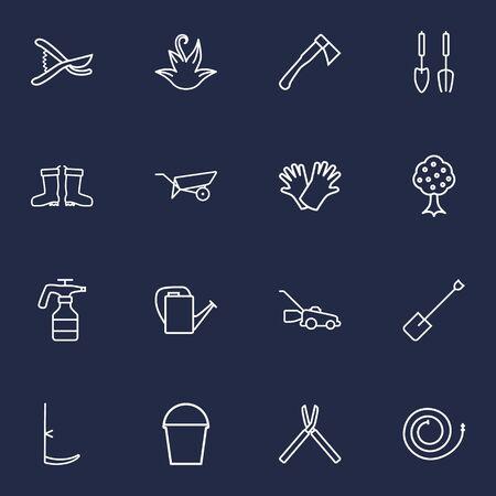 safer: Set Of 16 Farm Outline Icons Set.Collection Of Scythe, Spade, Safer Of Hand Elements. Illustration