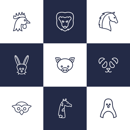 Set Of 9 Beast Outline Icons Set.Collection Of Owl, Horse, Rabbit And Other Elements.