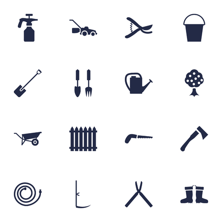 pulverizer: Set Of 16 Farm Icons Set.Collection Of Fence, Rubber Boots, Spray Bootle And Other Elements.