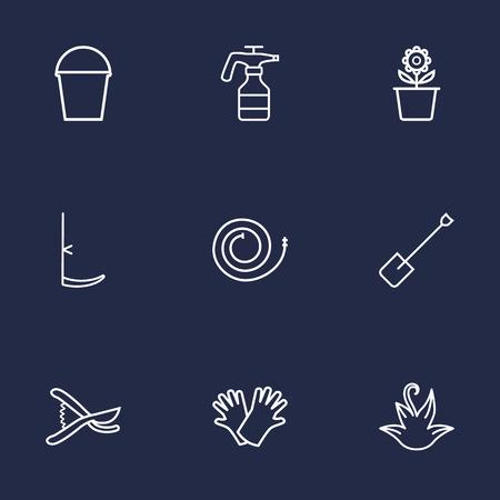 safer: Set Of 9 Farm Outline Icons Set.Collection Of Atomizer, Safer Of Hand , Herb Elements. Illustration