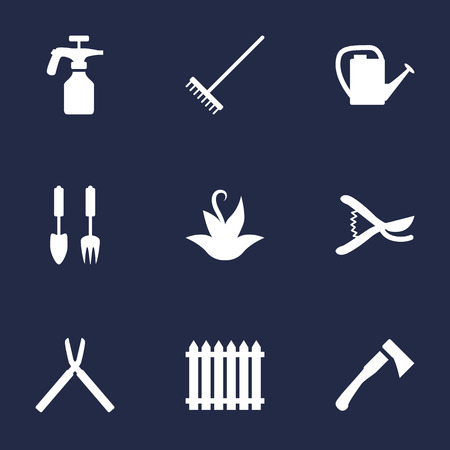 pulverizer: Set Of 9 Household Icons Set.Collection Of Axe, Tools, Rake And Other Elements.