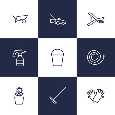 pulverizer: Set Of 9 Farm Outline Icons Set.Collection Of Harrow, Barrow, Plant Pot And Other Elements.