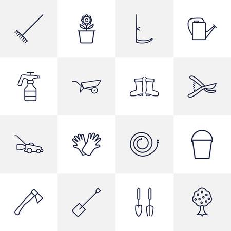 safer: Set Of 16 Farm Outline Icons Set.Collection Of Safer Of Hand , Hatchet, Harrow Elements. Illustration