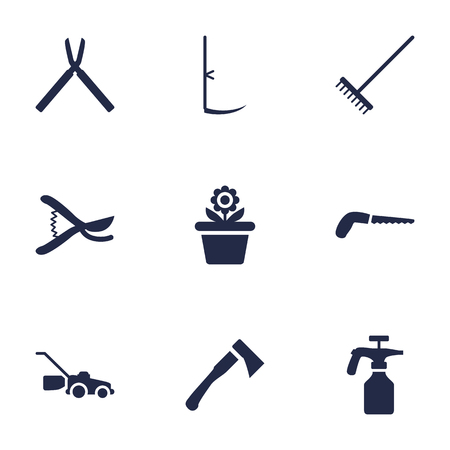 pulverizer: Set Of 9 Household Icons Set.Collection Of Pruner, Lawn Mower, Axe And Other Elements. Illustration