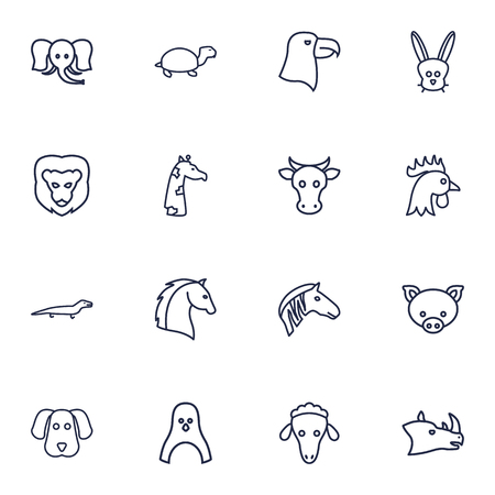 Set Of 16 Brute Outline Icons Set.Collection Of Penguin, Elephant, Rabbit And Other Elements.