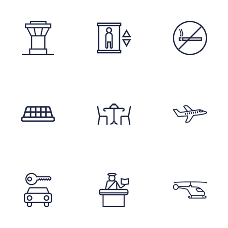 interdiction: Set Of 9 Land Outline Icons Set.Collection Of Taxi, Control Tower, Helicopter And Other Elements.