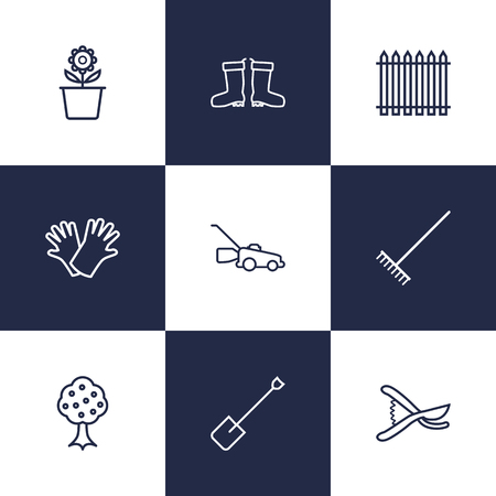 tree trimming: Set Of 9 Farm Outline Icons Set.Collection Of Waterproof Shoes, Harrow, Plant Pot And Other Elements.