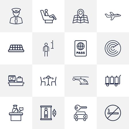 pareja comiendo: Set Of 16 Airplane Outline Icons Set.Collection Of Map, Plane, Luggage Trolley And Other Elements. Vectores