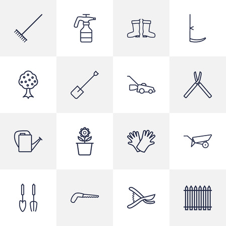 dangerous work: Set Of 16 Farm Outline Icons Set.Collection Of Arm-Cutter, Harrow, Secateurs And Other Elements.