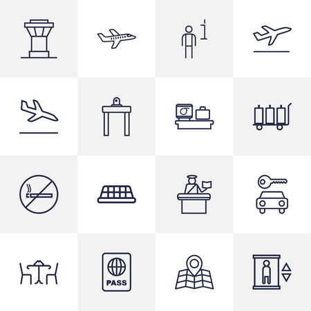 round chairs: Set Of 16 Land Outline Icons Set.Collection Of Passport Controller, Plane, Certification And Other Elements.