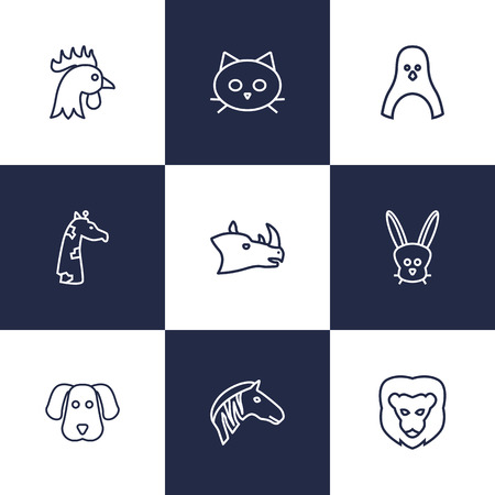 brute: Set Of 9 Brute Outline Icons Set.Collection Of Rhino, Dog, Cat And Other Elements. Illustration