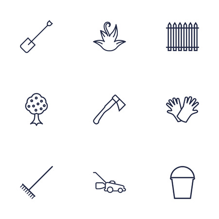 eco flowers basket: Set Of 9 Household Outline Icons Set.Collection Of Spade, Herb, Hatchet And Other Elements.