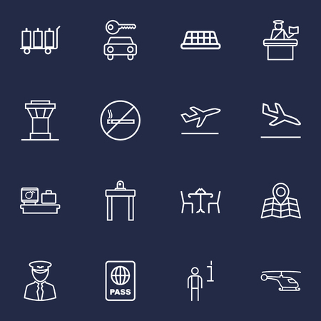 emigration: Set Of 16 Land Outline Icons Set.Collection Of Sit, Data, Luggage Trolley And Other Elements.